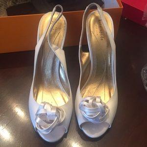 Kate spade white satin christa heels